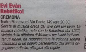 """""""Mondo Padano"""" Musica del 15/4/16 pag.34"""