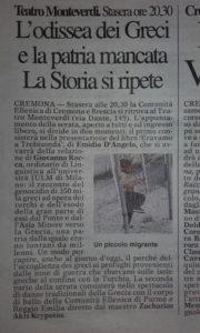 """Da """"La Provincia"""" di Cremona del 24/4/2016"""