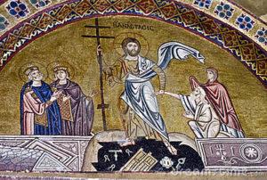Resurrezione di Gesù, mosaico dell'undicesimo secolo, monastero di Osios Loukas, Distomo, Beozia